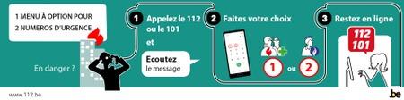 Un menu à option pour les numéros d'urgence 112 et 101