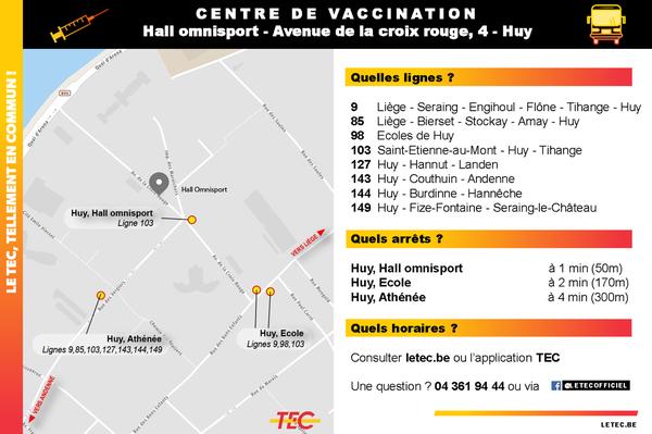 Fiche d'accessibilité du centre de vaccination de Huy en bus - Pour toute information, formez le 04 361 94 44.